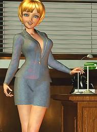 Cute office girl strips and masturbates