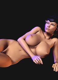 Hentai Secretary strokes 3D Guy and reaches climax