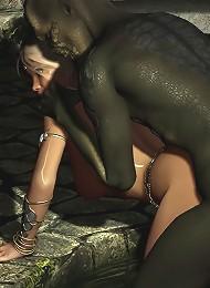 Sorceress gets cummed all over her snatch
