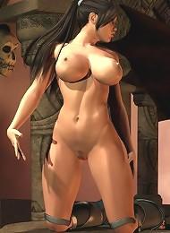 Mom on knees gets tortured by 3D Demon