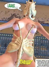 Mad 3D Elf Princess strips naked and gets cum facial