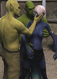 Kinky Elf Princess getting fondled by 3D Frankenstein