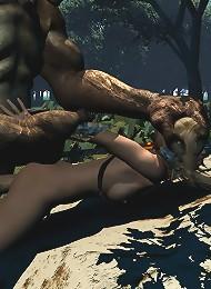3D Floozy gets her titties sucked by 3D Ogre