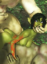 3D Jade deepthroats then gets screwed by 3D Giant