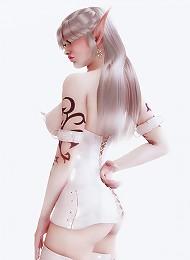 Seductive 3D mistress filled on asshole