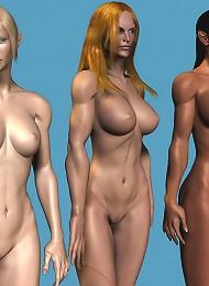 3D dickgirl with sporting knockers deepthroats