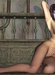 Nymph 3D Peasant girl feels penis