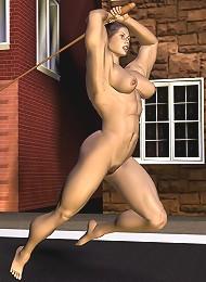 3D Slut with juicy boobs receiving creamy sperm