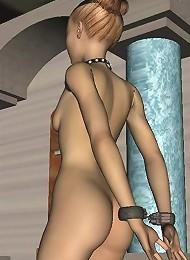 Gorgeous 3D Secretary gets bitten by Driver