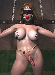 Cute 3D Fantasy Heroine shares Ninja and bombed