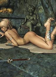 Girl masturbates and pleasures cum spurting cock