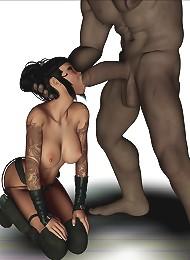 Cartoon Mutant massage cock between her boobs