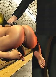 3D Streetwalker forced to please 3d Tentacle